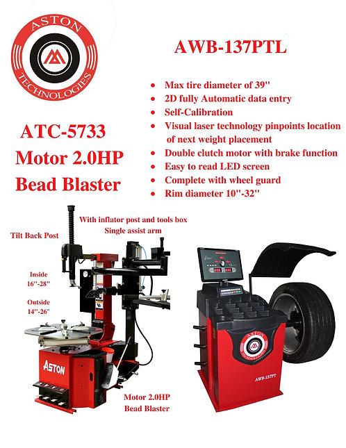 Tire Changers and Wheel Balancers Combo: ATC-5733 & AWB-137PTL