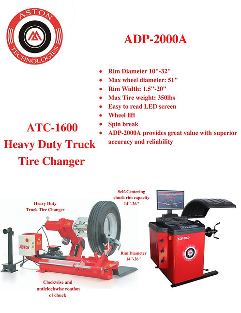 Truck Tire Changer and Wheel Balancer Combo  ATC-1600 & AWB-2000A