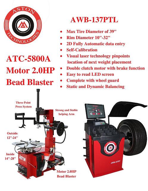 Tire Changers and Wheel Balancers Combo: ATC-5800 & AWB-137PTL