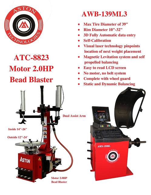 Tire Changers and Wheel Balancers Combo ATC-8823 & AWB-139MLT