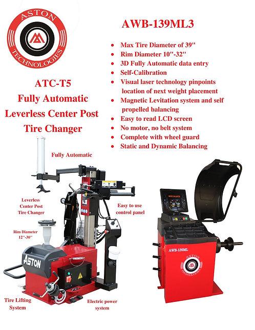 Tire Changer and Wheel Balancer Combo ATC-T5 & AWB-139MLT