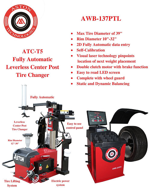Tire Changers and Wheel Balancers Combo ATC-T5 & AWB-137PTL