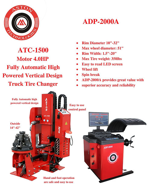 Tire Changers and Wheel Balancers Combo: ATC-1500 & AWB-2000A