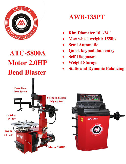 Tire Changers and Wheel Balancers Combo: ATC-5800A & AWB-135PT