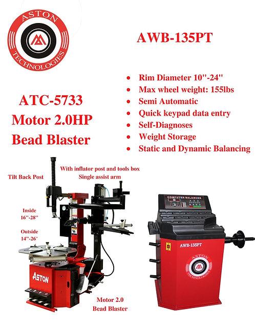 Tire Changers and Wheel Balancers Combo: ATC-5733 & AWB-135PT
