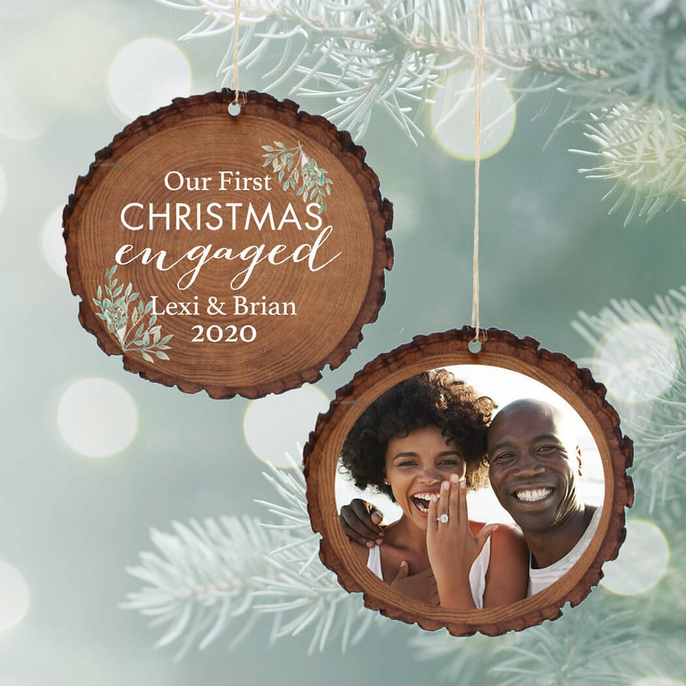 Personalized ornament is one of the best engagement gifts.