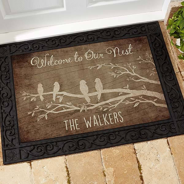 Personalized doormat as a gift for an engagement.