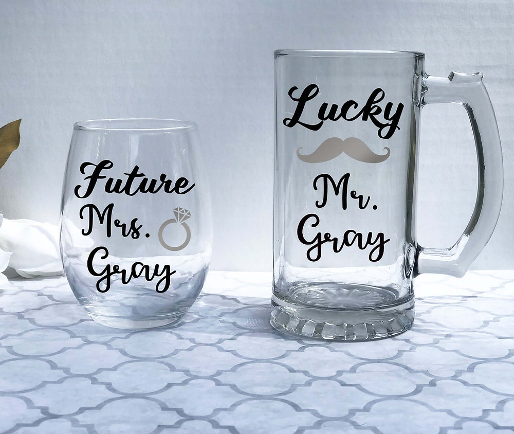 Classic personalized engagement gifts.