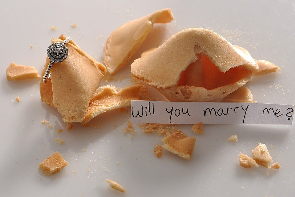 Cute proposal idea with fortune cookie.