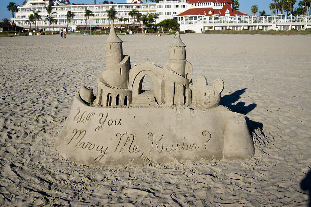 Castle as a metaphor for marriage proposal.