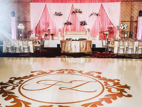 Dance Floor Wrap, Scottsdale, Arizona Glossy White with Gold Monogram (initials) Custom Made