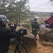 Jonathan Serxner slates for DP Paul Frateschi at Occoneechee State Park. Photo by Kieran Moreira
