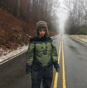 Caitlin Wells near Grandfather Mountain. Photo by Kieran Moreira