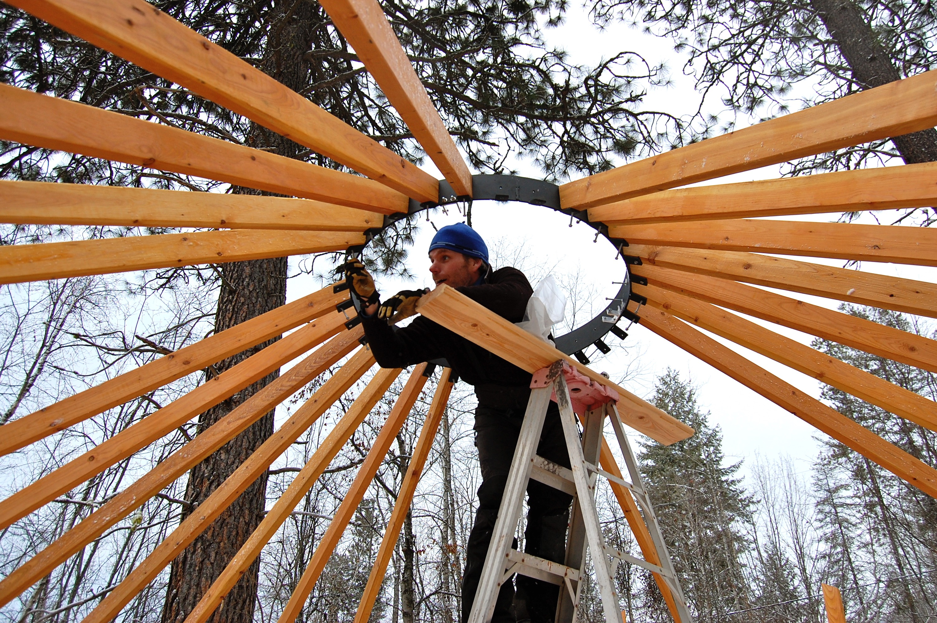 Assembling the yurt