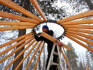 Glamping - yurt raising for the Art Retreat