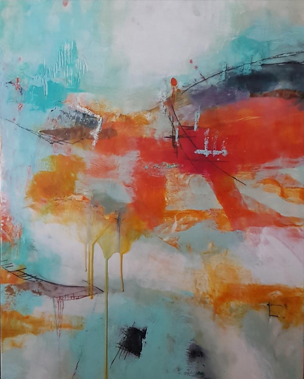 The Quieter you Become, 30h x 24w, Erica Konrad, encaustic