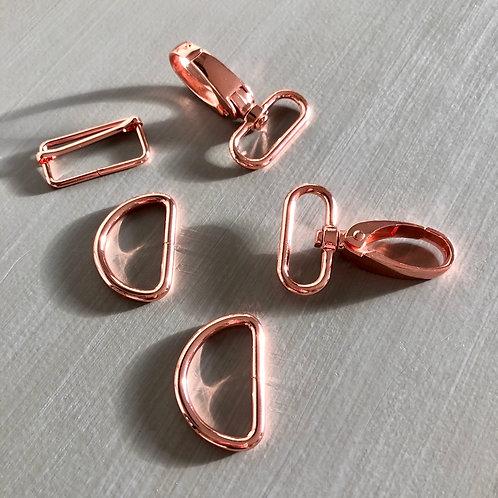 Kit bouclerie pour bandoulière 3 cm ~ Or rose
