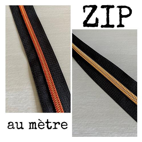 ZIP au mètre 5 mm ~ Or ou rouge