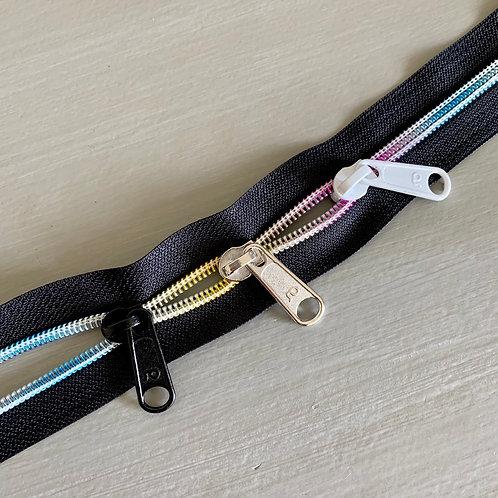 Curseur multi color pour zip au mètre arc en ciel
