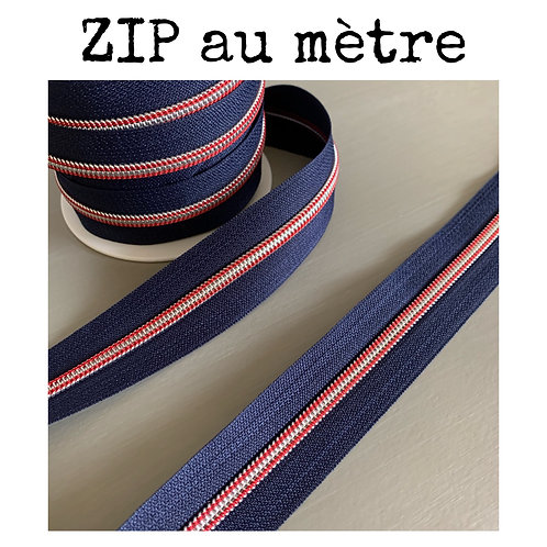 Zip au mètre 5 mm - Rouge/bleu nuit