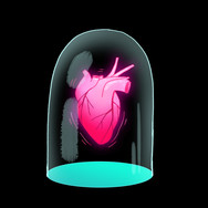 Heart behind glass