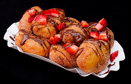 doughnut holes with strawberries