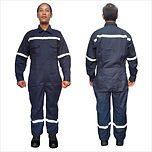 Coverall w/ Reflector Cotton Twill (Navy Blue)