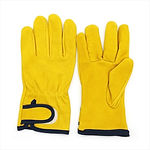 BOX - YELLOW LEATHER GLOVES WITH STRAP.j