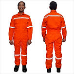 Coverall w/ Reflector Cotton Twill (Orange)