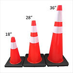 RUBBERIZED TRAFFIC CONE PVC WITH BLACK BOTTOM 36""