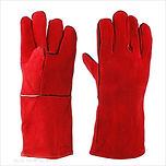 """Cowhide Split Leather Gloves 13"""" or 14"""" (Red)"""