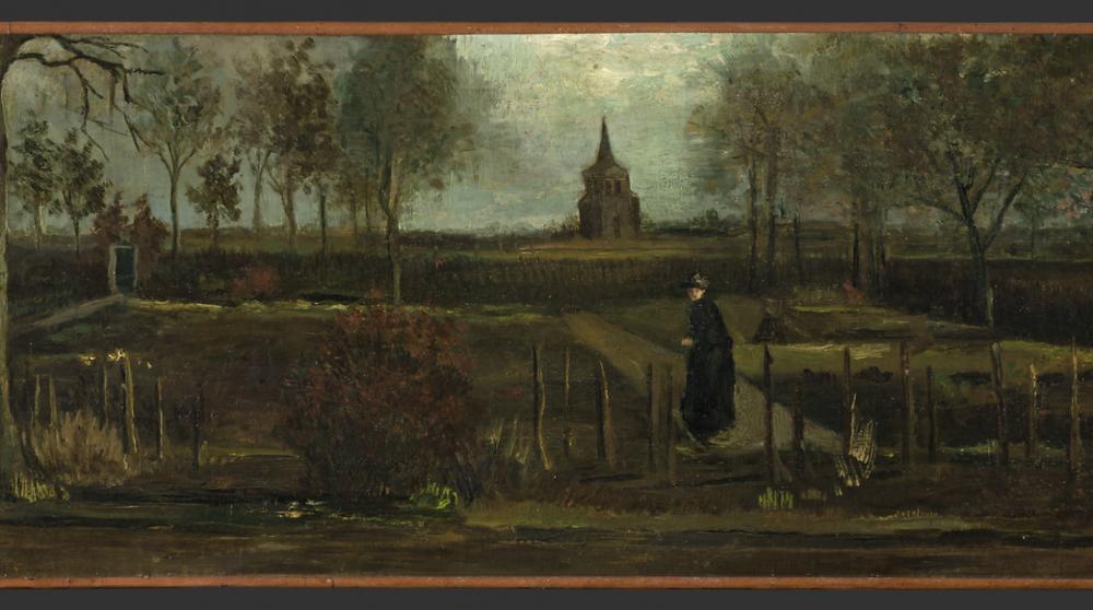 «Весенний сад. Сад у дома священника в Нюэнене весной» (Винсент Ван Гог, 1884 год, масло, 39 x 72 см)  Источник: Музей Гронингера