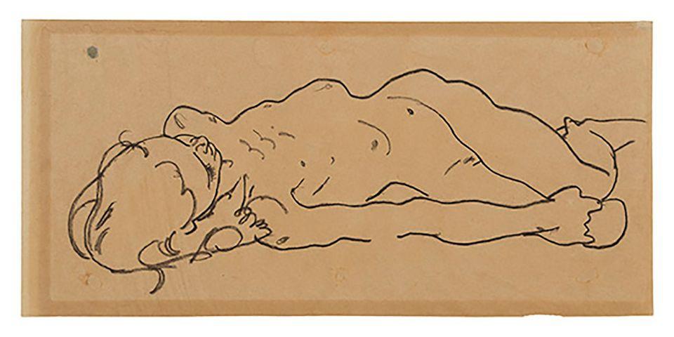 Ранее неизвестный рисунок Эгона Шиле «Лежащая обнаженная девушка» (около 1918 года)