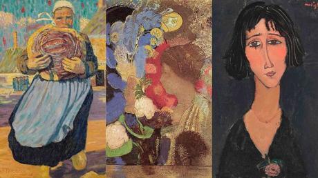 Картины из коллекции Марлен Хейс, переданные в дар Музею Орсэ. Слева направо: «Женщина в саду» Робера Делоне, «Женщина в цветах» Одилона Редона, «Девушка с розой (Маргарита)» Амедео Модильяни. Фрагменты.