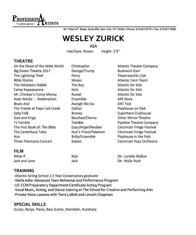 Wesley Zurick Resume