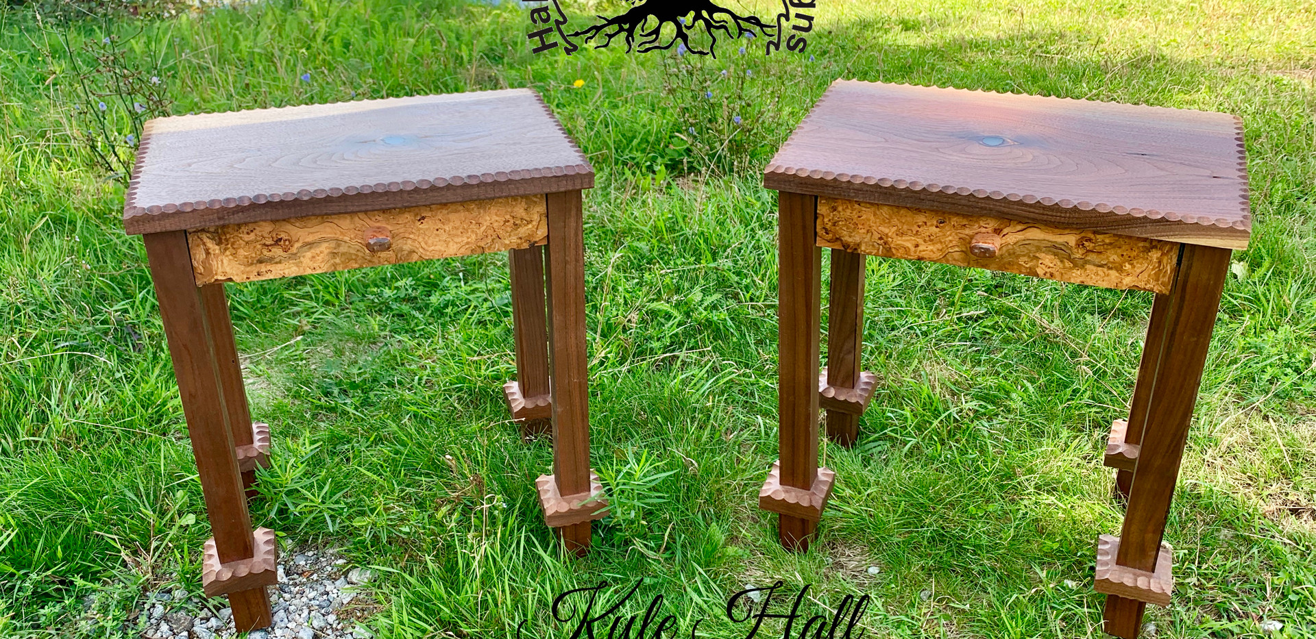 Walnut and cherry burl end stands