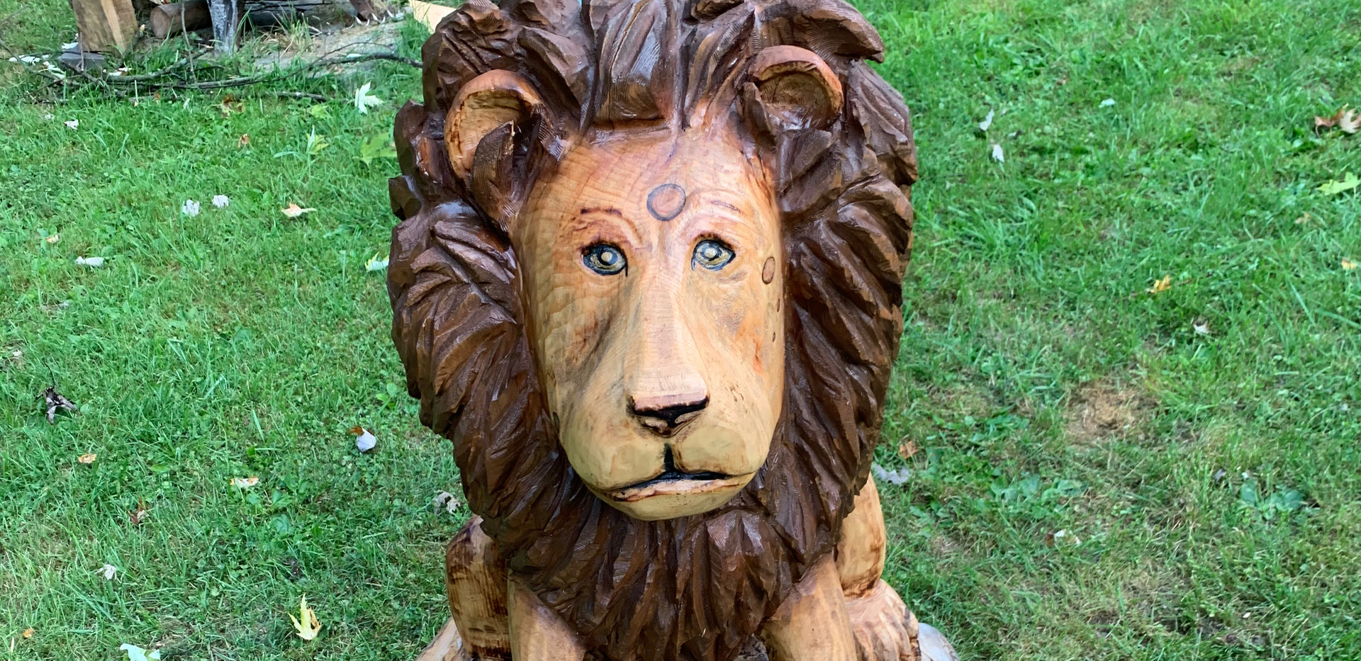 Chainsaw carved Lion