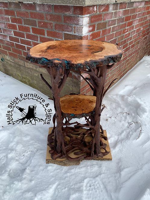 Walnut & Cherry burl entryway table