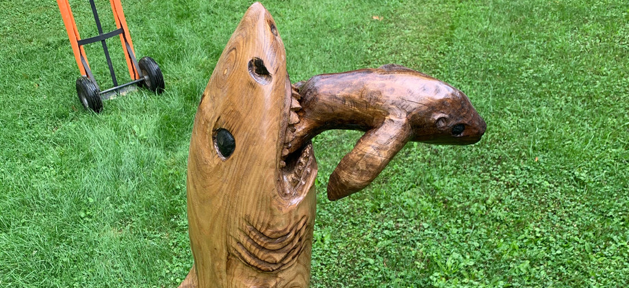 Chainsaw carved shark