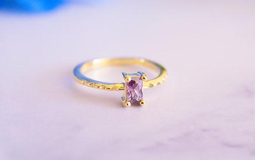 Purple Rectangle Crystal Rings