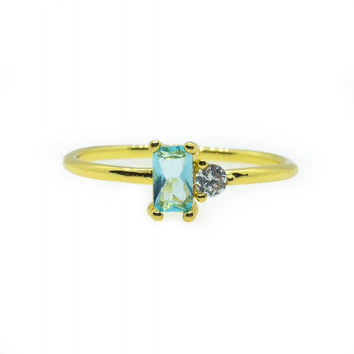 Sky-blue Topaz Square Crystal Rings