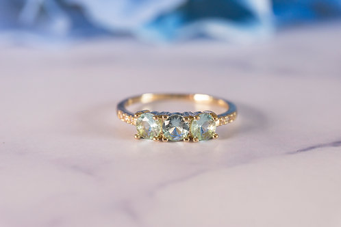 Three Stones Aquamarine Rings