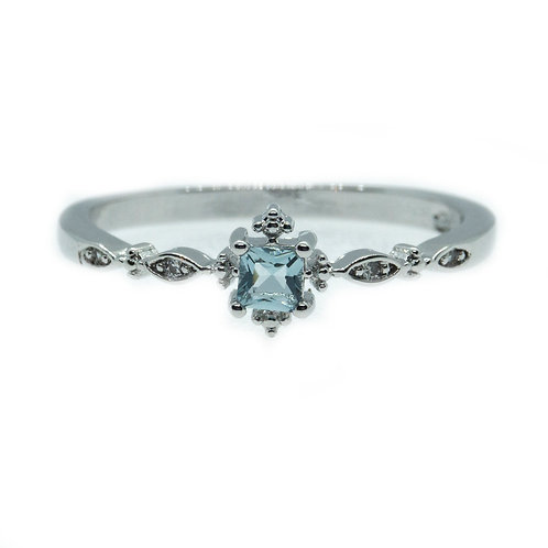Blue Crystal Square Rings