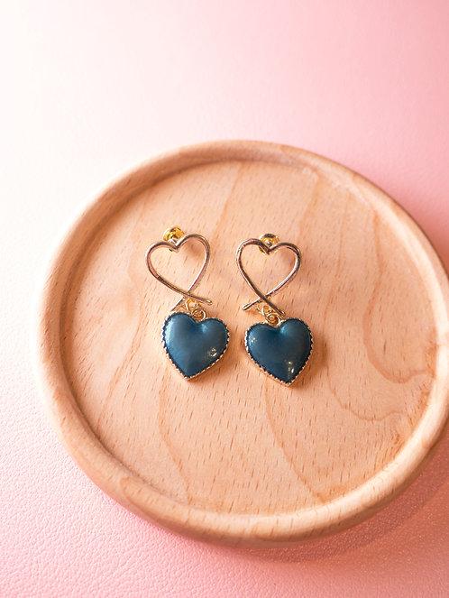 The Blue Heart Earrings