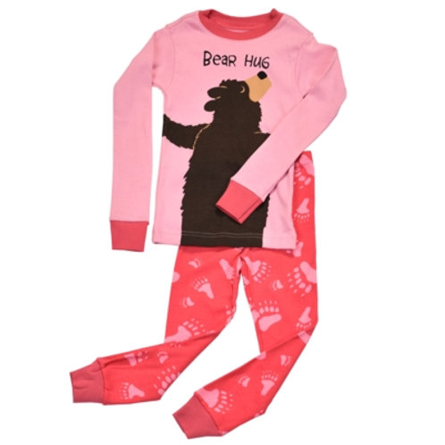 Bear Hug Langarm Pyjama Kind, pink