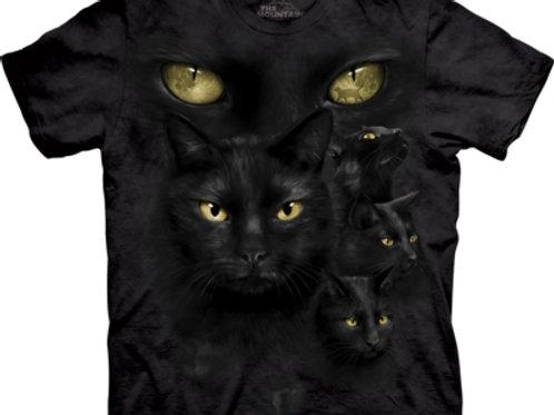 Schwarze Katze Mond Augen