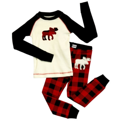 Moose Plaid Langarm Pyjama Kind