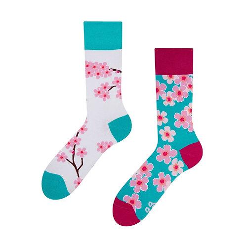 Japanische Kirschblüte Gute Laune Socken, Erwachsene