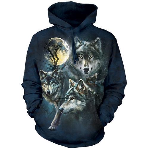 HOODIE - Wölfe mit Mond Collage