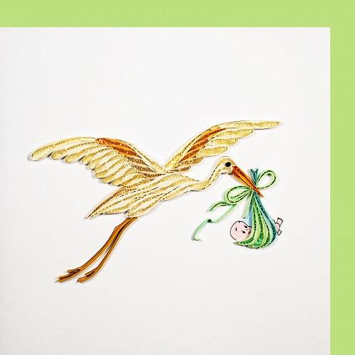 Paper Quilling Karte, Storch mit Baby